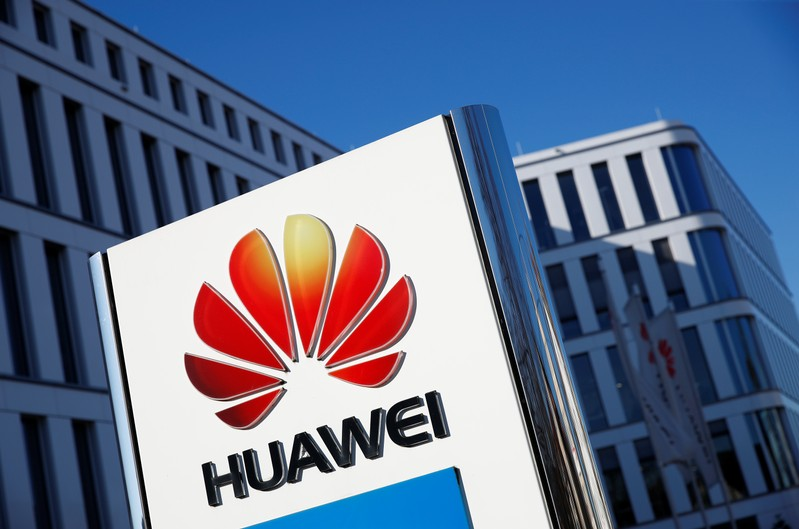 FILE PHOTO: The logo of Huawei Technologies is pictured in front of the German headquarters of the Chinese telecommunications giant in Duesseldorf