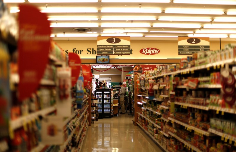 An aisle of a grocery store is pictured in Altadena, California U.S