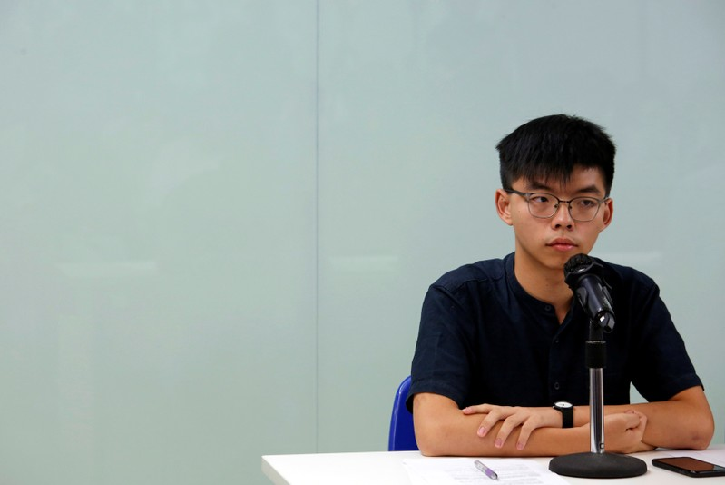 Demosisto founding member Joshua Wong attends a news conference in Hong Kong