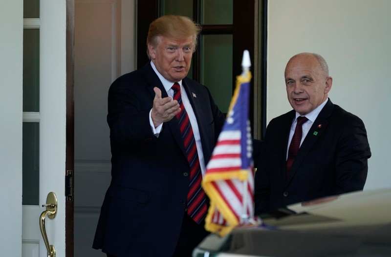 U.S. President Trump welcomes Swiss Federal President Maurer at the White House in Washington