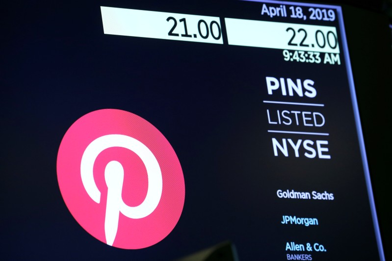 The company logo for Pinterest, Inc. with trading information is displayed on a screen at the NYSE in New York
