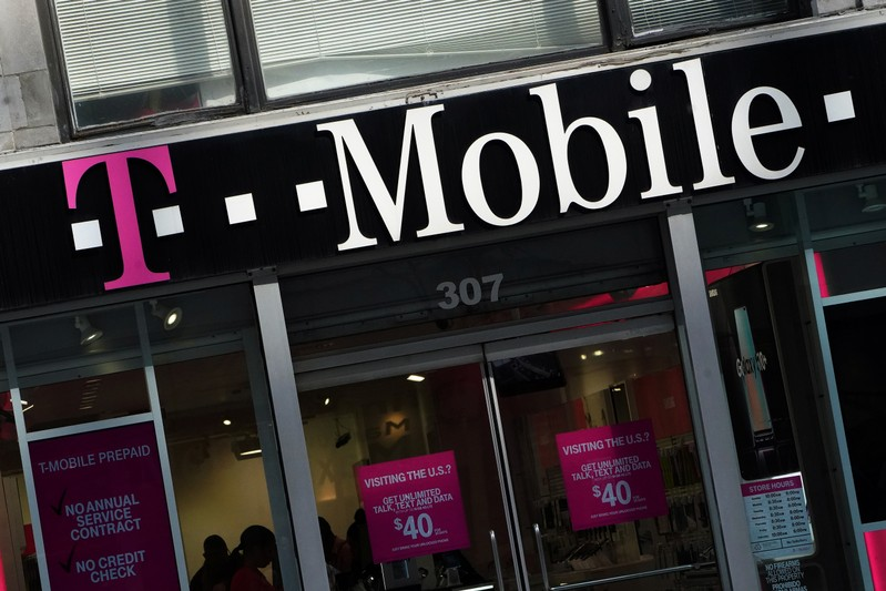 FILE PHOTO: A T-Mobile store is pictured in the Manhattan borough of New York