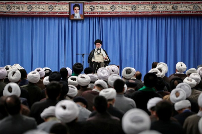 Iran's Supreme Leader Ayatollah Ali Khamenei gives a speech to a group of scholars and seminary students of religious sciences in Tehran