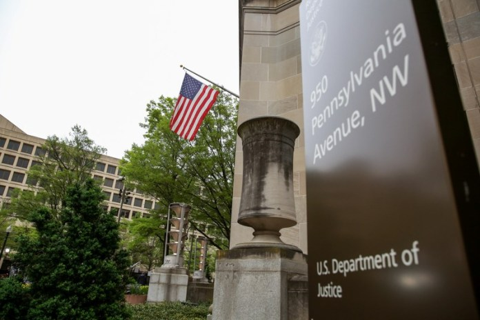 FILE PHOTO: A general view of the Department of Justice building is seen in Washington