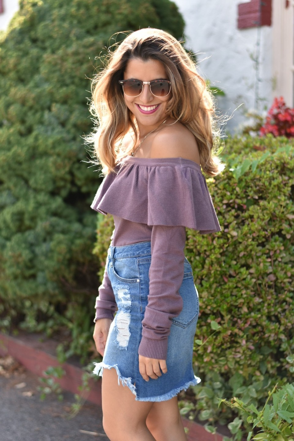 Off the Shoulder Sweater & Denim