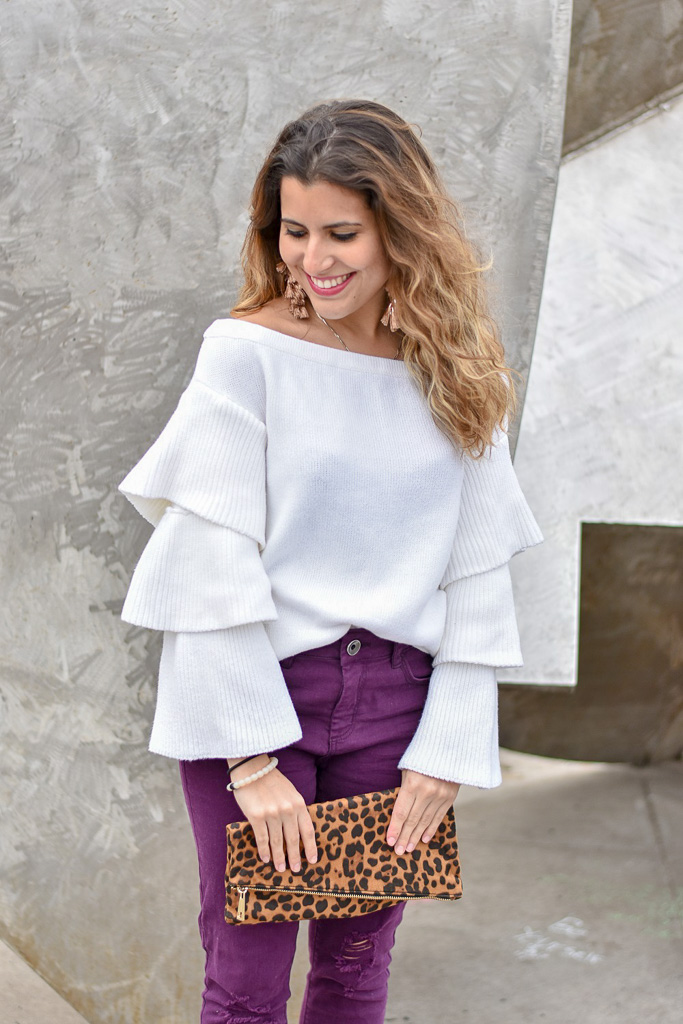 Off the Shoulder Ruffle Sweater