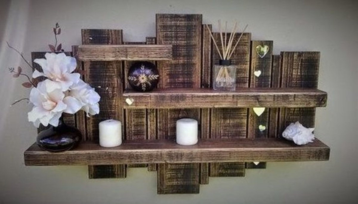 Great use of stained wood, creating dimension and an inexpensive shelf