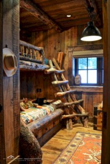 Creative log cabin themed bedroom for kids 15