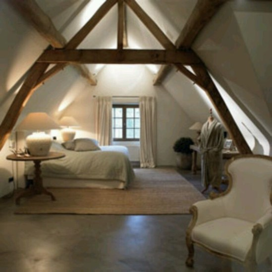Vintage attic bedroom with wall of skylights04
