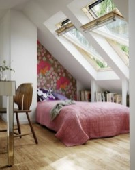 Vintage attic bedroom with wall of skylights52