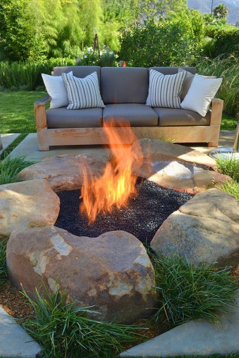 The rustic fire pit
