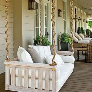 Rustic farmhouse front porch decorating ideas 21