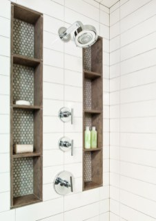 Built-in bathroom shelf and storage ideas to keep your bathroom organized 29