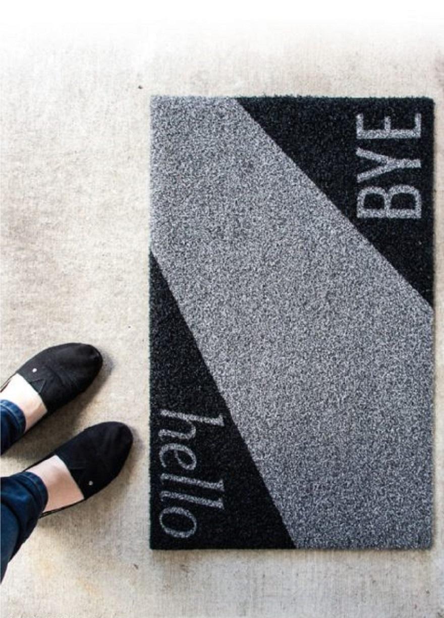 Diy modern doormat in black and white