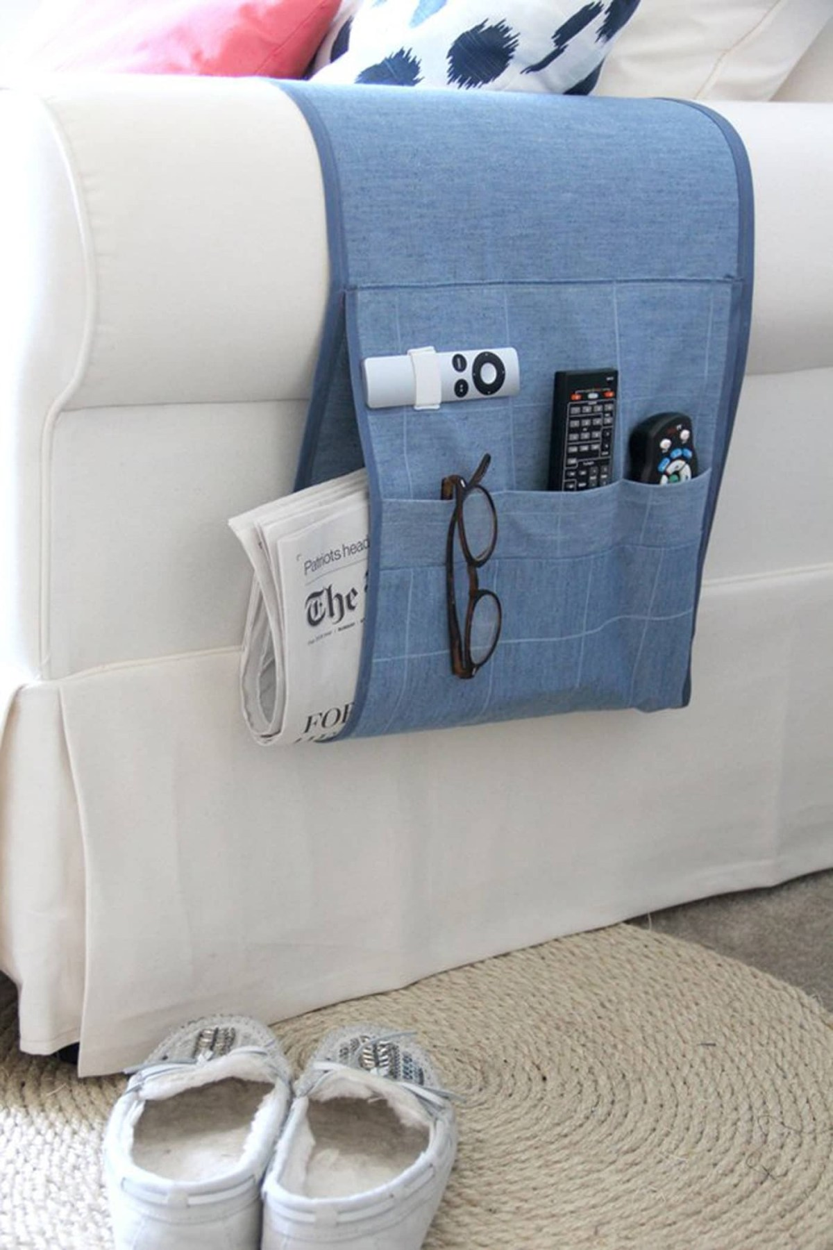 Arm chair remote holder Effortless DIY Sewing Projects To Create A Beautiful Effect To Your Home