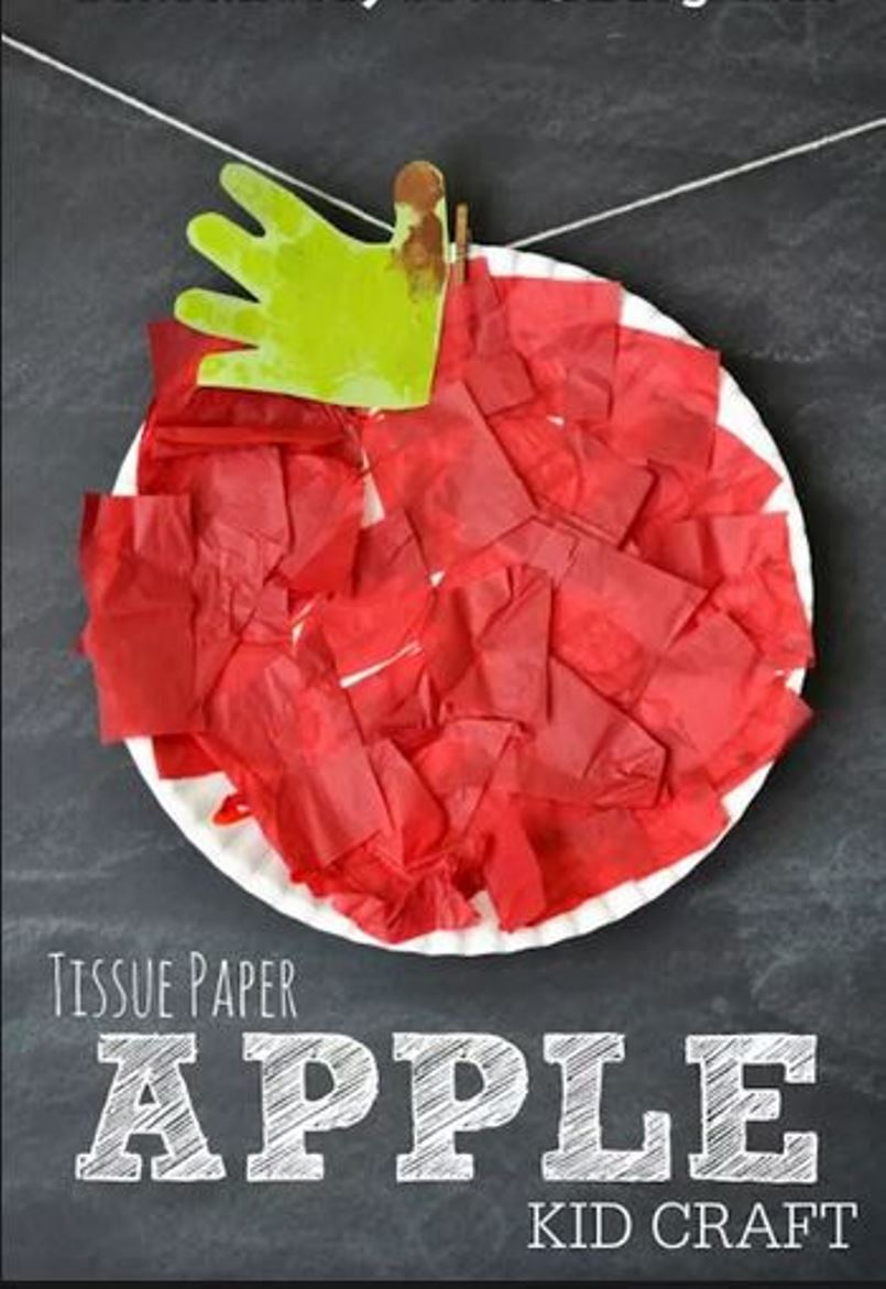 Diy apple craft from tissue papers