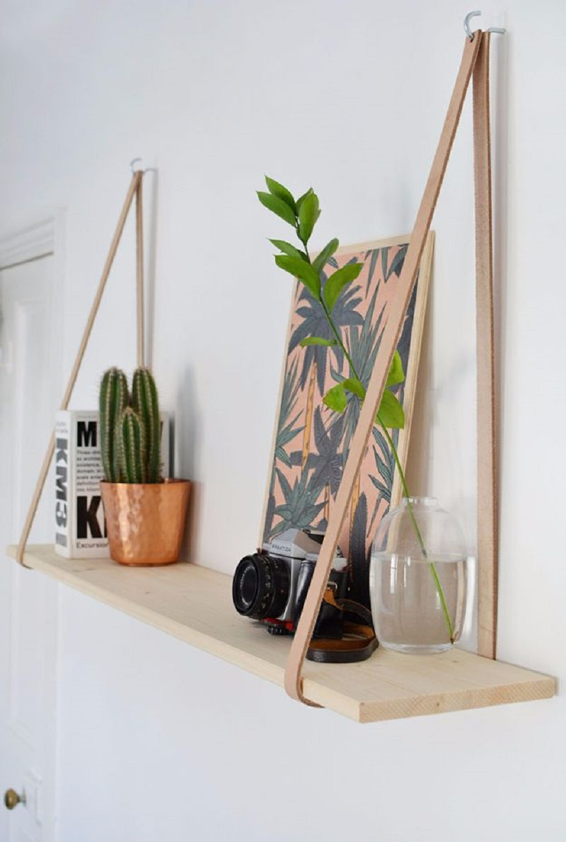 Diy-easy-leather-strap-hanging-shelf DIY Room Decoration Ideas Where Teens Can Do It In A Short Time