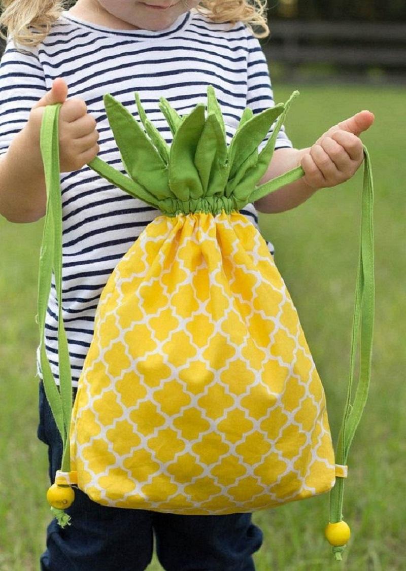 Diy pineapple drawstring DIY Backpacks Ideas For Your Kids' Back-To-School Seasonbackpack
