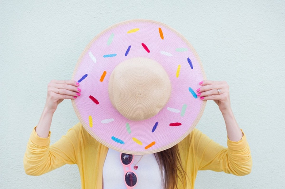 Paint a donut on a floppy hat DIY Hat Ideas That Requires Almost No Sewing And Precise Cuts Skill