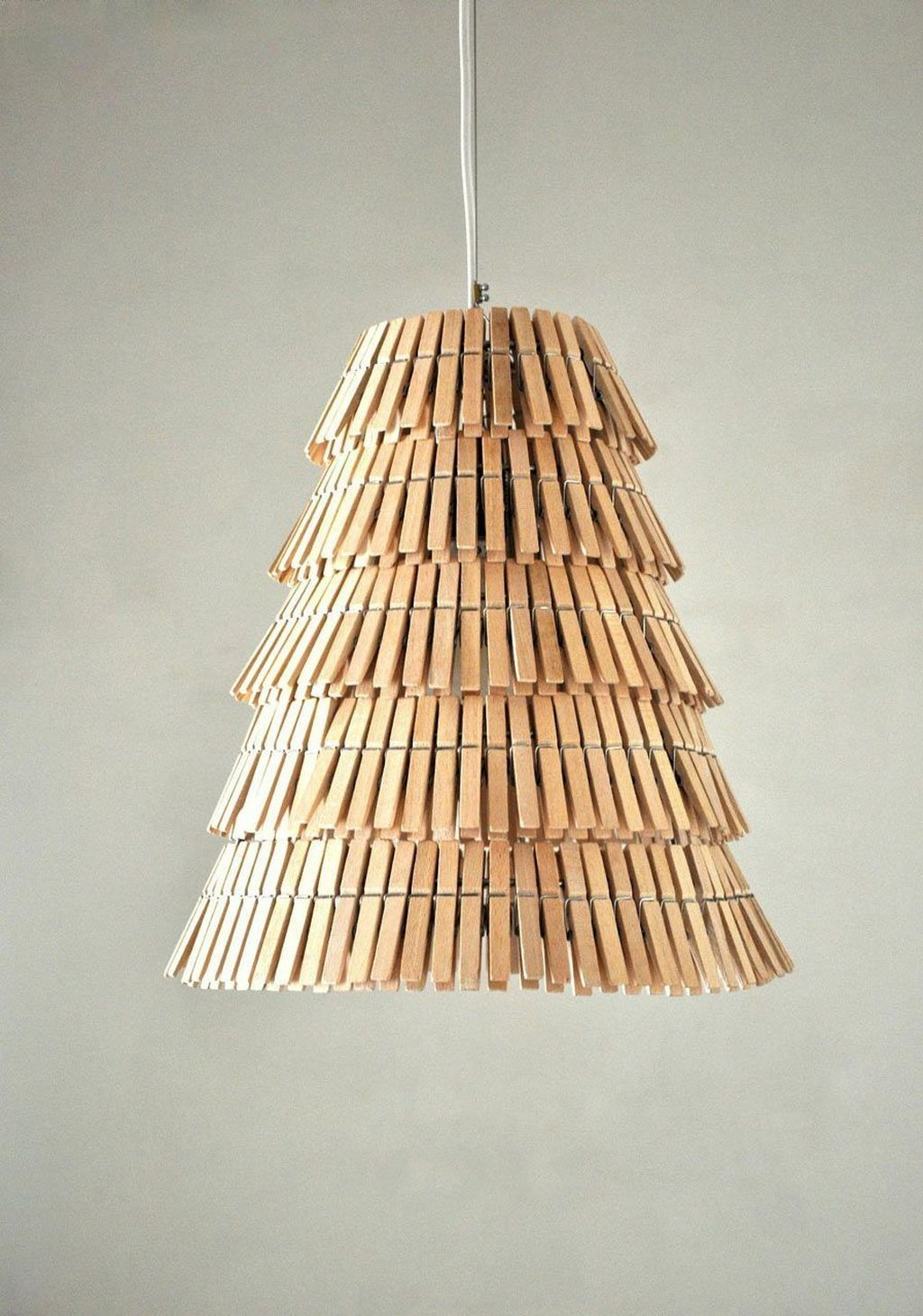 Wood clothespins pendant lamp Unconventional DIY Craft Ideas You Can Do With Wood Clothespins