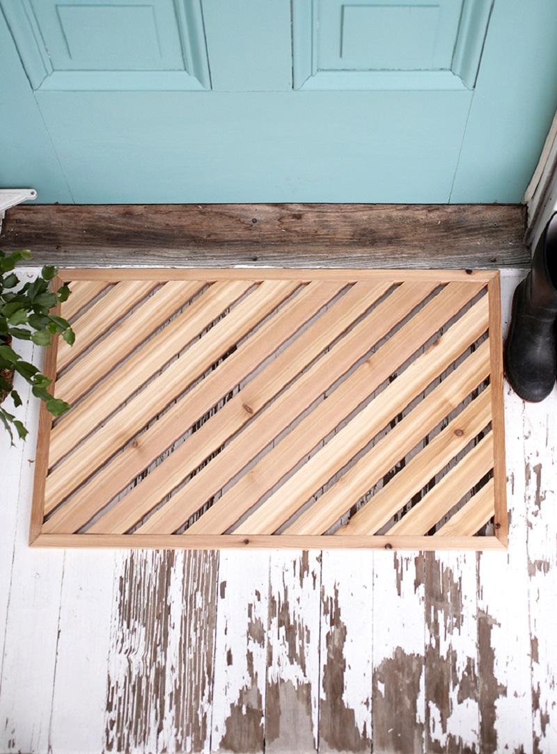 Wooden framed doormat DIY Doormat That Offers You Impressive Yet Inexpensive Ideas