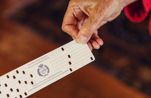 Computer punch card.