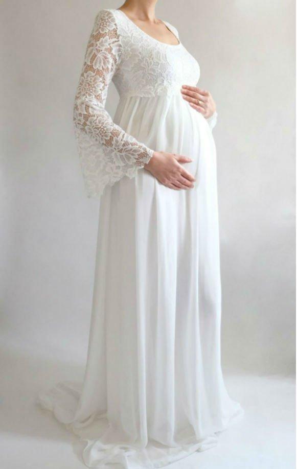 Vestido Noiva Gestante Boho Flare - Casa Vians Couture