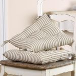 Pair Of Grey Striped Dining Chair Cushions With Ties