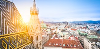 Vienna skyline with St. Stephen's Cathedral roof, Austria