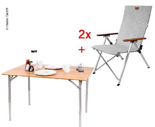 ensemble holiday travel deux chaises pliantes et une table en bambou