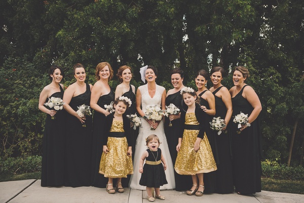 Black, White & Gold Wedding With Glitter Details In