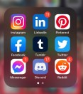 social media icons are shown on an iphone home screen Instagram, linkedin, pintrest, facebook, tumblr, twitter, fb messenger, discord and reddit