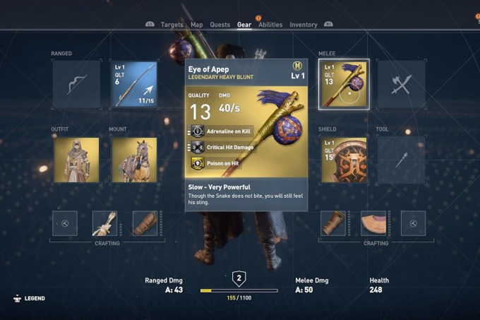 Assassin S Creed Origins Weapons How Cursed And Legendary Weapons Work And More Explained Eurogamer Net