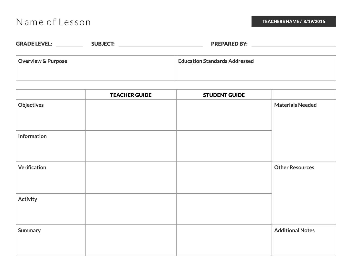 5 Free Lesson Plan Templates Amp Examples