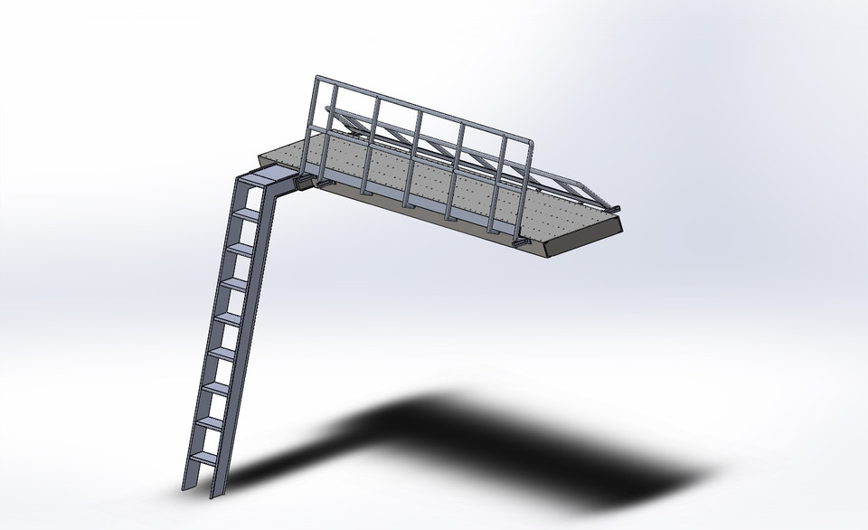 Platform With Folding Handrails 3D Cad Model Library Grabcad   Folding Stairs With Handrails   Elderly   Hydraulic   Hand Rail   Aluminum   Interior