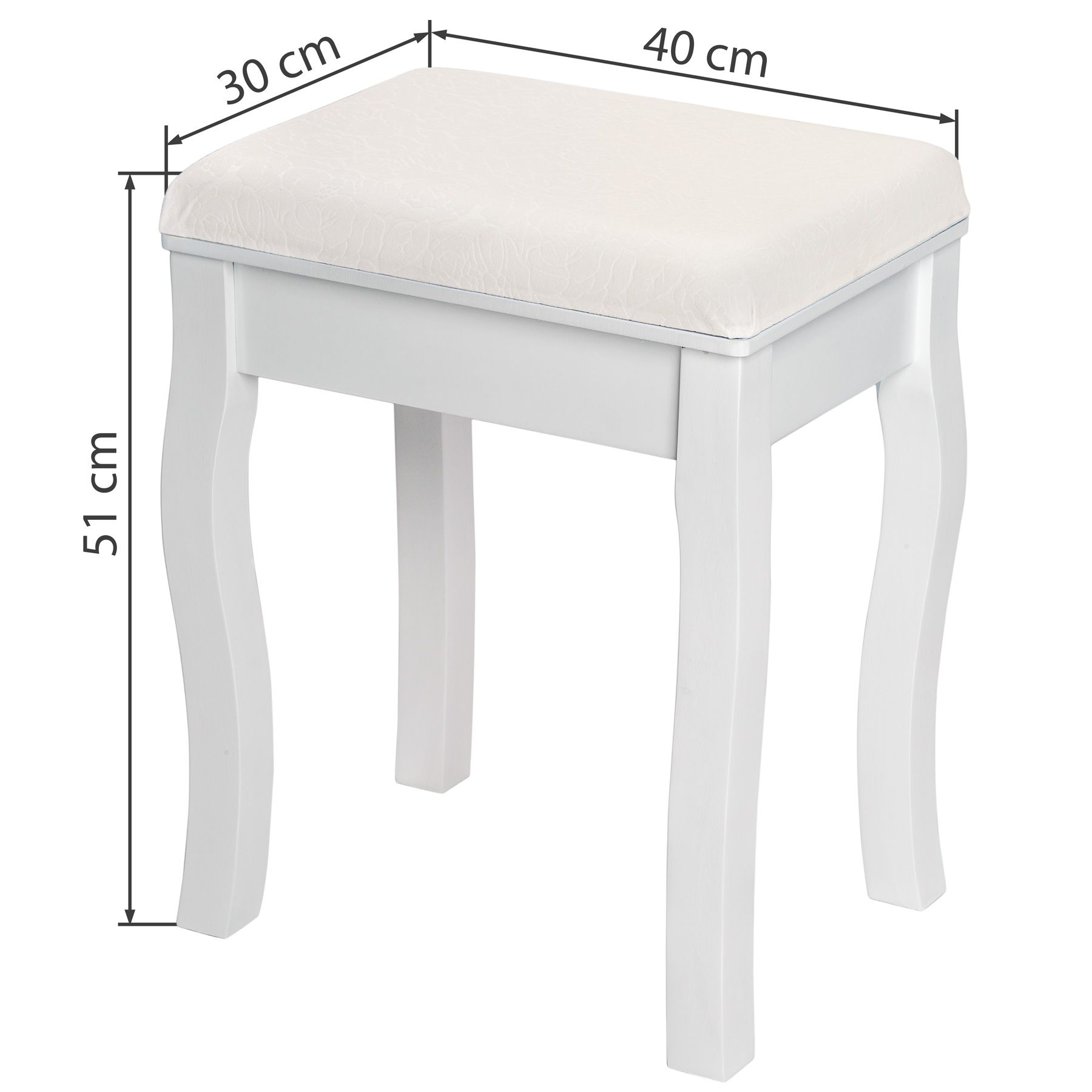details sur tabouret pouf pour coiffeuse petite chaise piano fauteuil en bois blanc 40x30x51