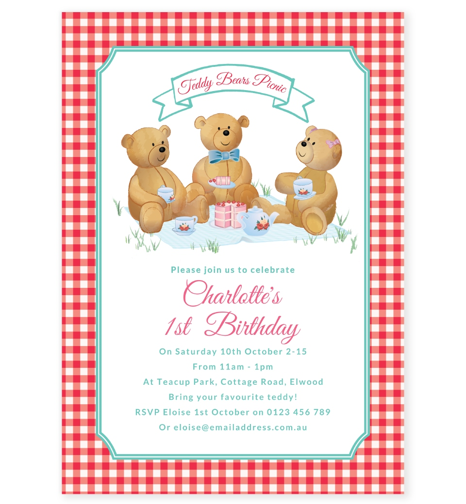 teddy bears picnic party theme invitation