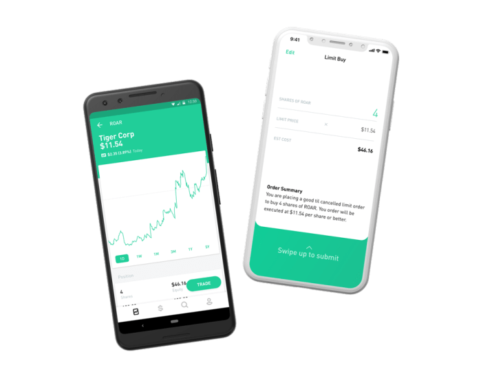 Two phones with the Robinhood app open: one viewing the details of a stock, and the other placing an order.