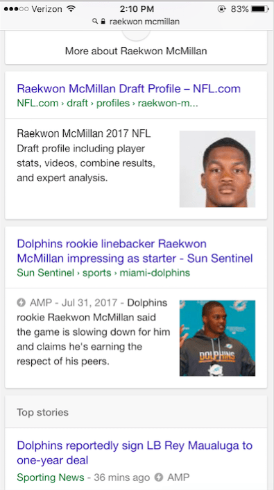 "Screenshot of mobile SERP for query ""Raekwon McMillan"""