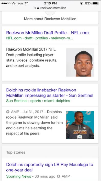 "Screenshot of mobile SERP for query ""Raekwon McMillan"""