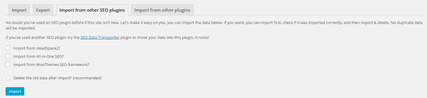 Importing settings from other SEO plugins