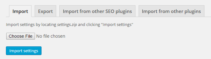 Using the import tab to import settings from other SEO plugins