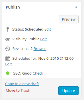 "The ""Publish"" box on Yoast SEO"