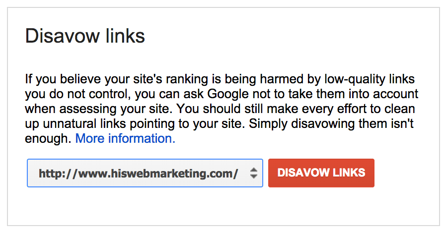 filing a link disavow