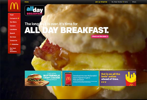 McDonald's Website Today