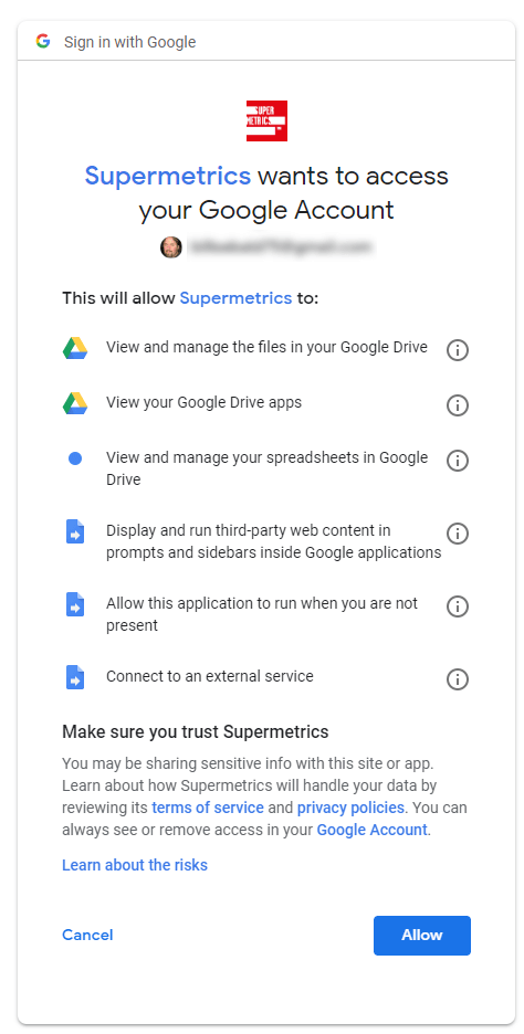 Supermetrics wants to access your Google Account