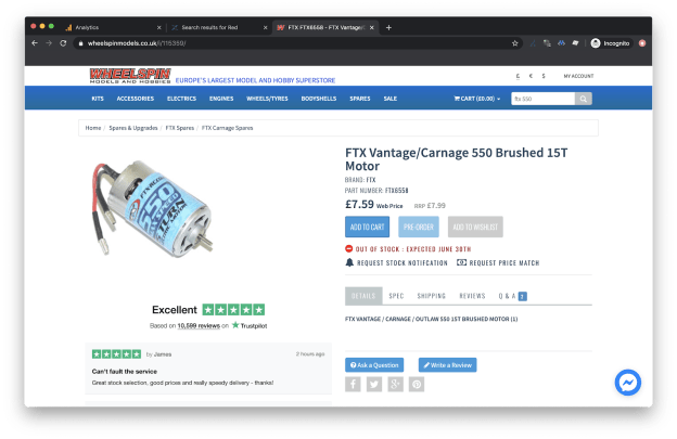FTX Vantage Motor is out of stock