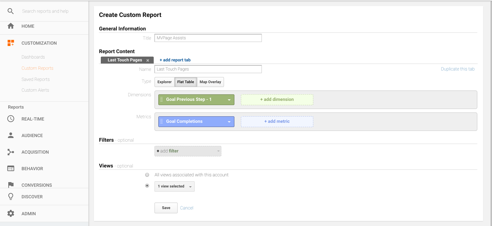 Last touch page report in google analytics