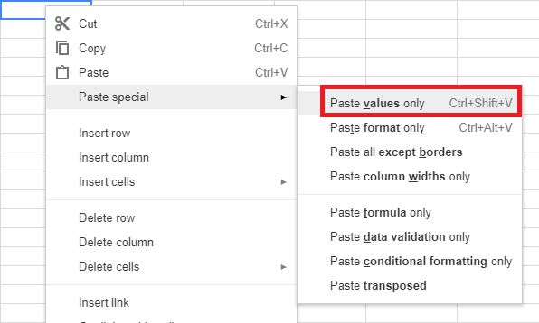 Screenshot of spreadsheet menu