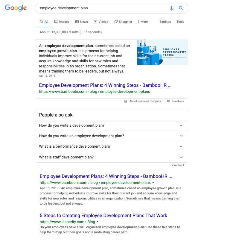 "Featured snippet won for ""employee development plan"""
